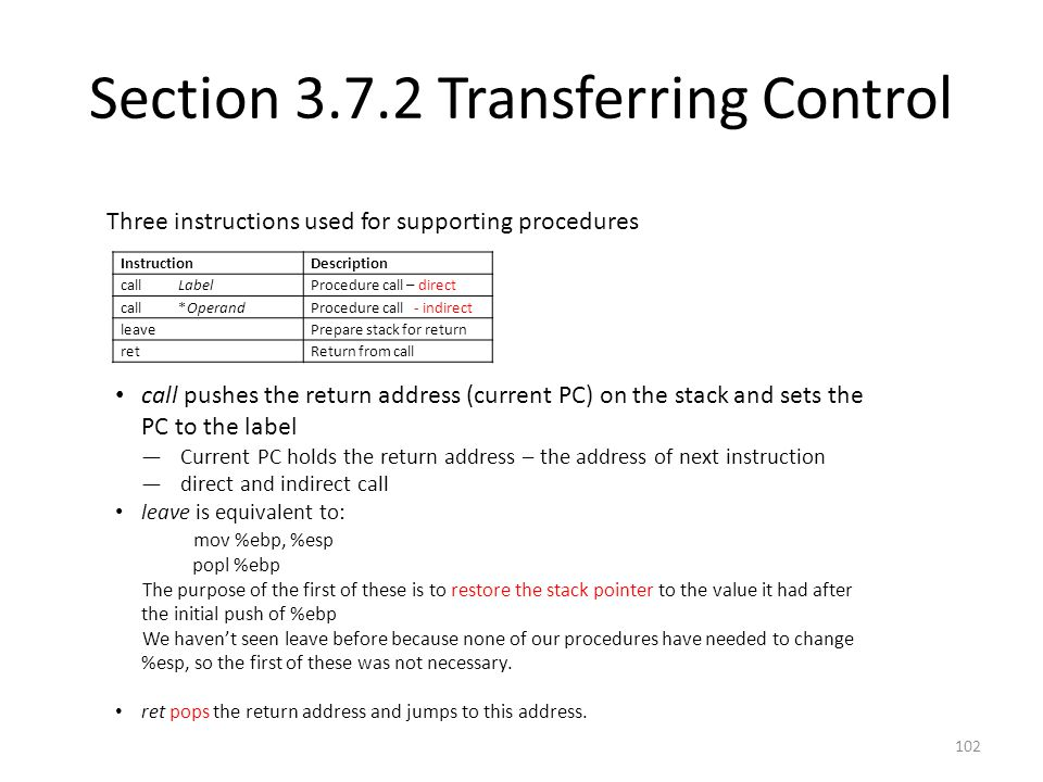 Section 3.7.2 Transferring Control