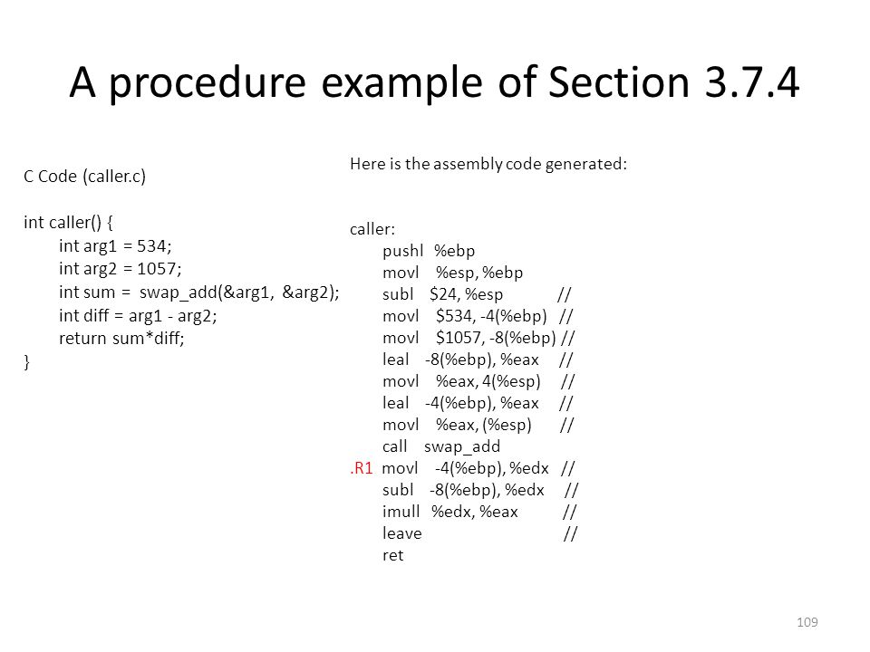 A procedure example of Section 3.7.4