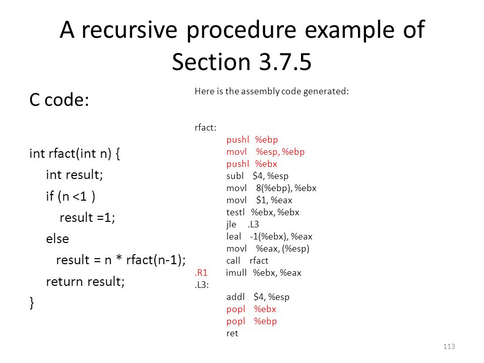 A recursive procedure example of Section 3.7.5