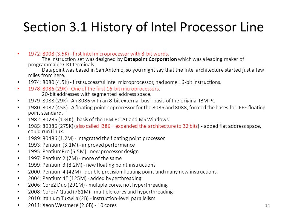 Section 3.1 History of Intel Processor Line
