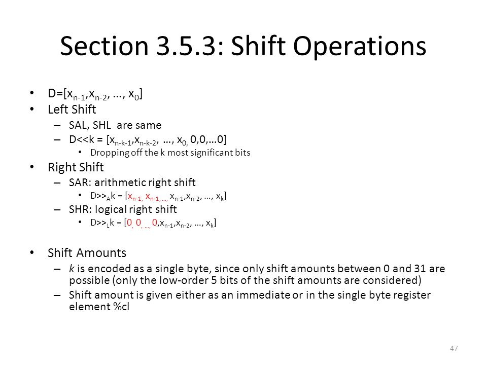 Section 3.5.3: Shift Operations