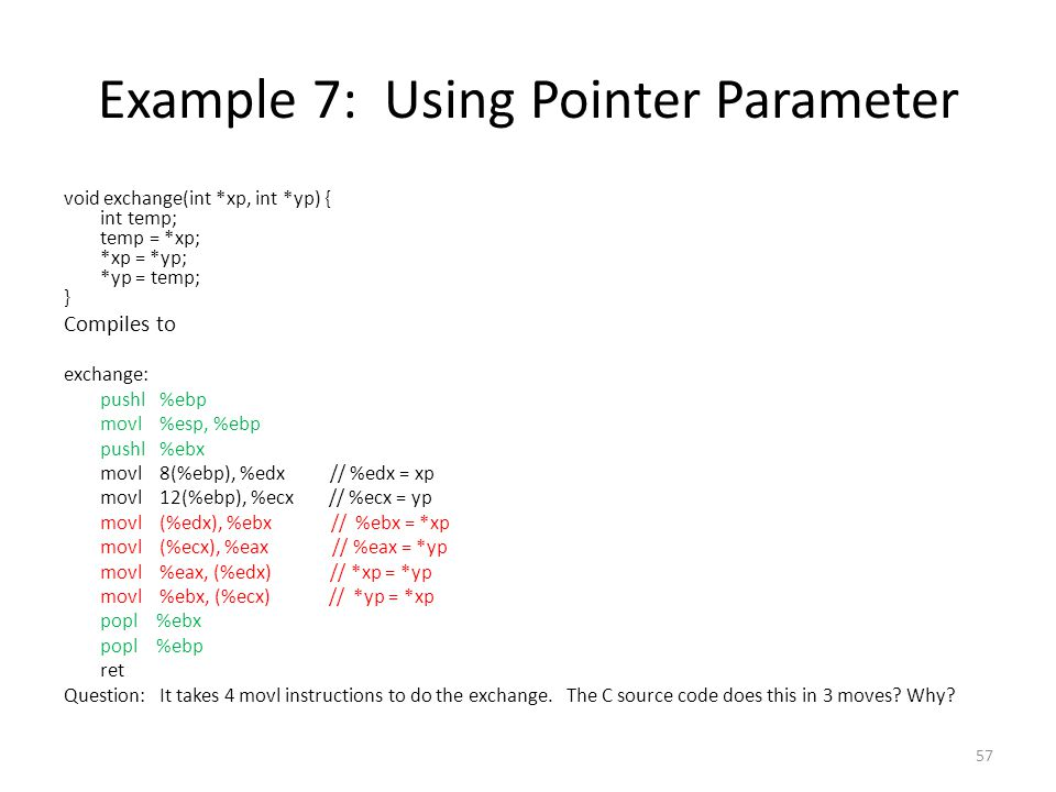 Example 7: Using Pointer Parameter