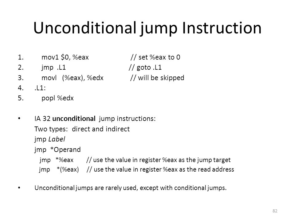 Unconditional jump Instruction