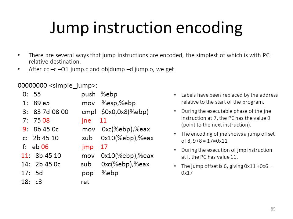 Jump instruction encoding
