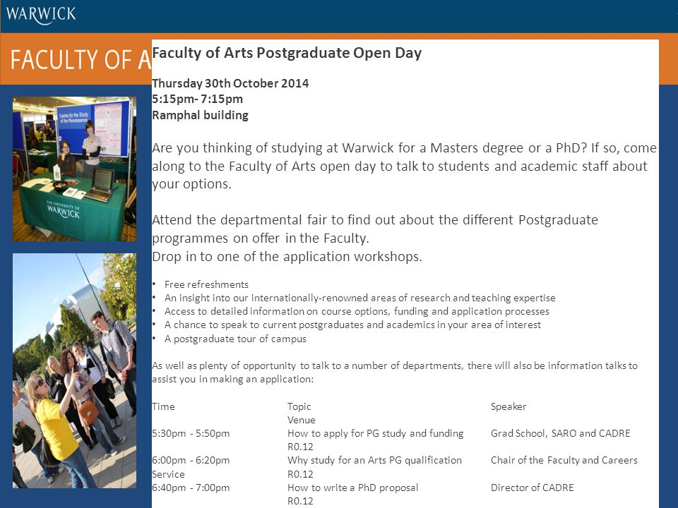 Faculty of Arts Postgraduate Open Day