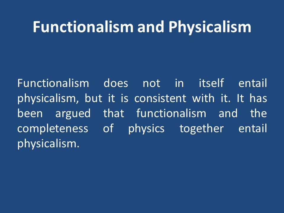 Functionalism and Physicalism