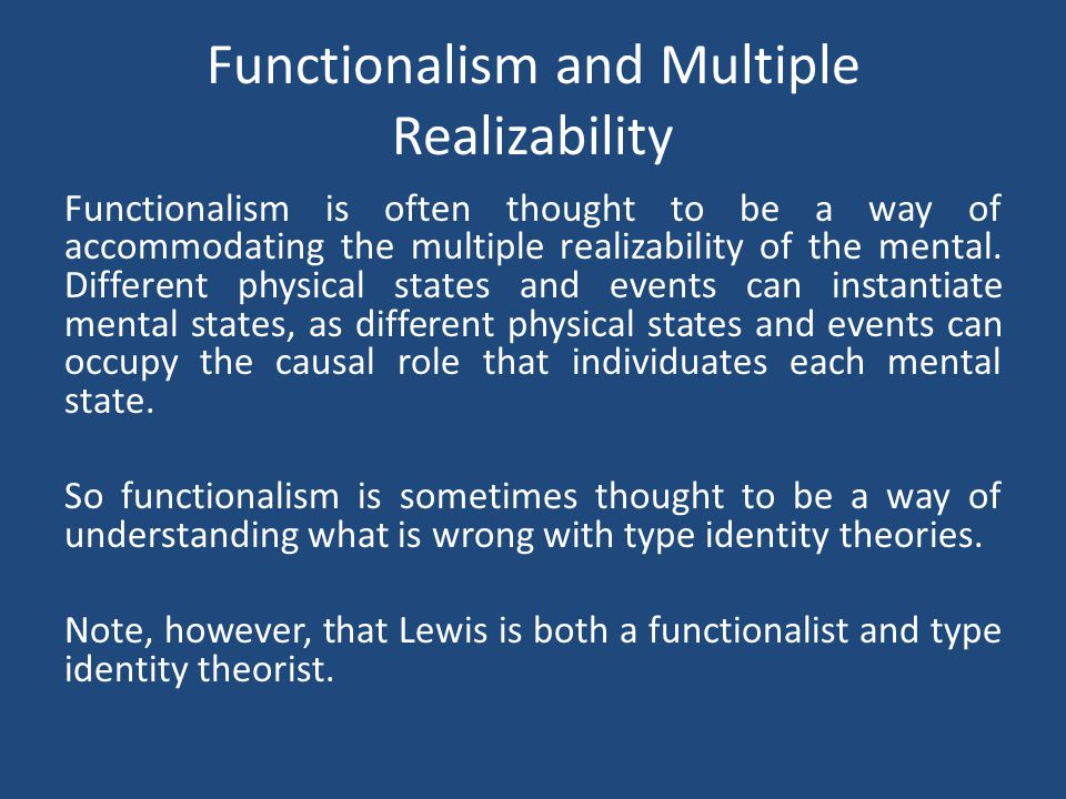 Functionalism and Multiple Realizability