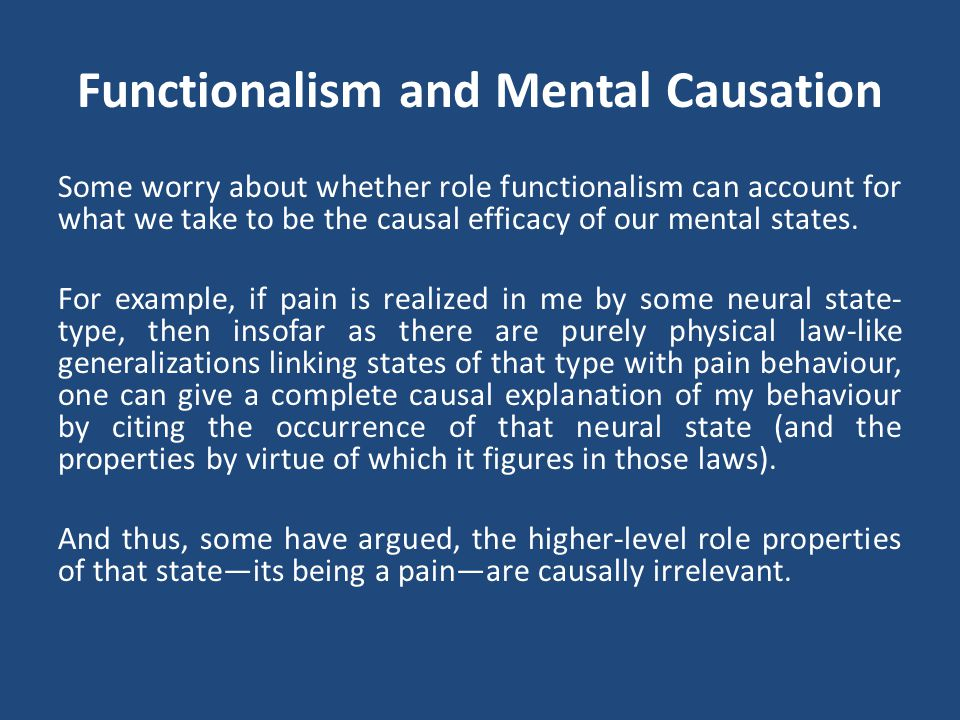 Functionalism and Mental Causation