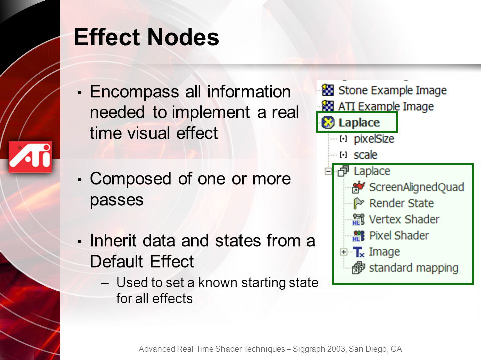 Effect Nodes Encompass all information needed to implement a real time visual effect. Composed of one or more passes.