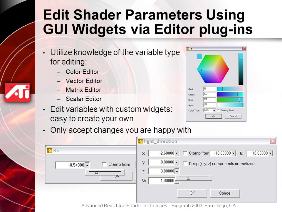 Edit Shader Parameters Using GUI Widgets via Editor plug-ins