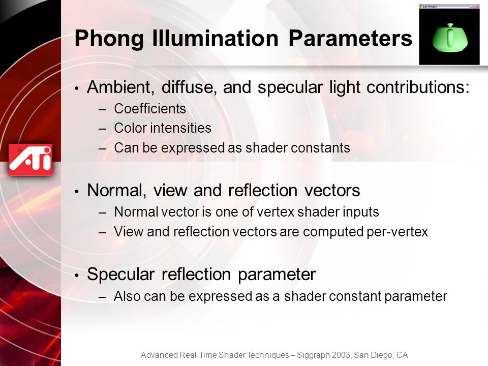 Phong Illumination Parameters