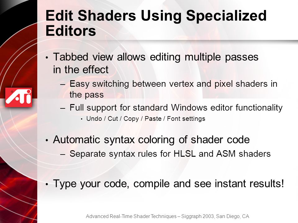 Edit Shaders Using Specialized Editors