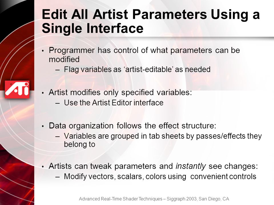 Edit All Artist Parameters Using a Single Interface