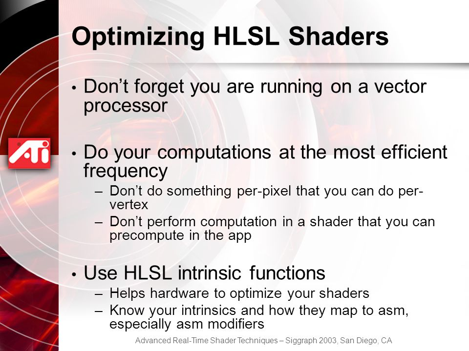 Optimizing HLSL Shaders