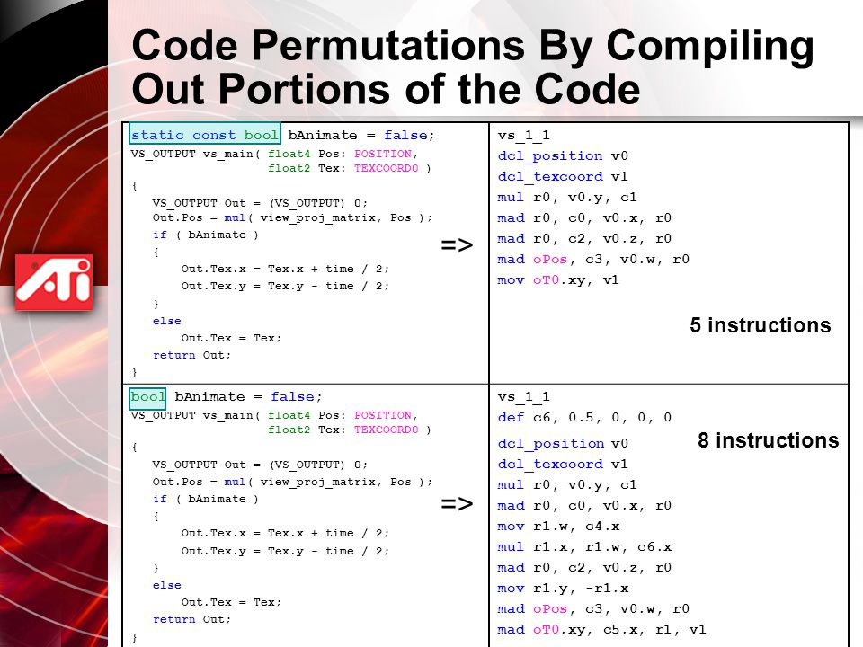 Code Permutations By Compiling Out Portions of the Code