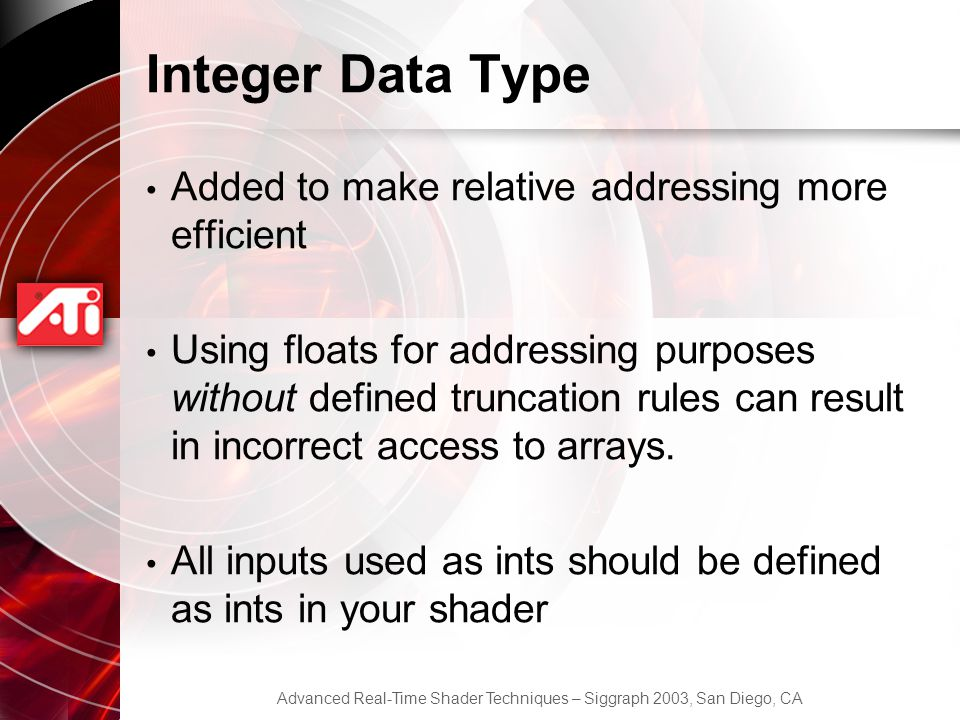 Integer Data Type Added to make relative addressing more efficient