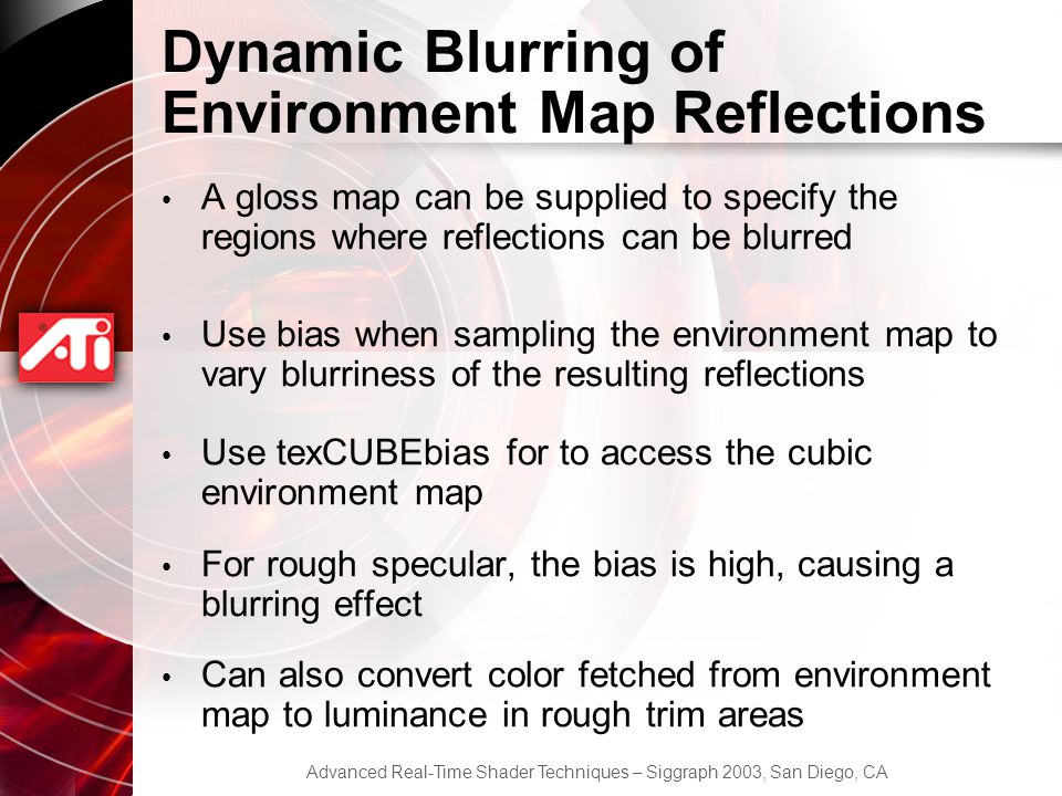 Dynamic Blurring of Environment Map Reflections