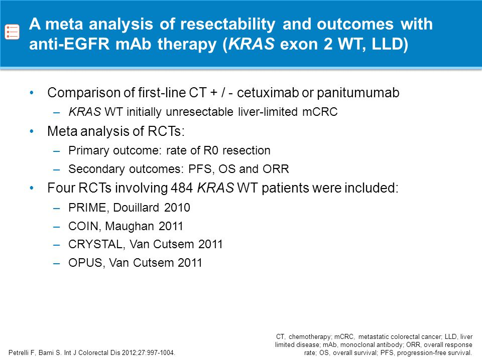 A meta analysis of resectability and outcomes with anti-EGFR mAb therapy (KRAS exon 2 WT, LLD)