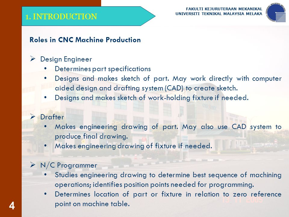 Roles in CNC Machine Production Design Engineer