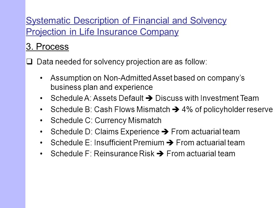 Systematic Description of Financial and Solvency Projection in Life Insurance Company