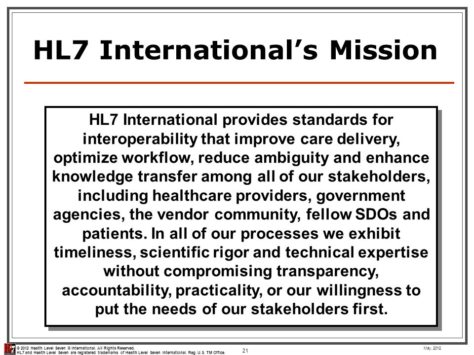 HL7 International's Mission