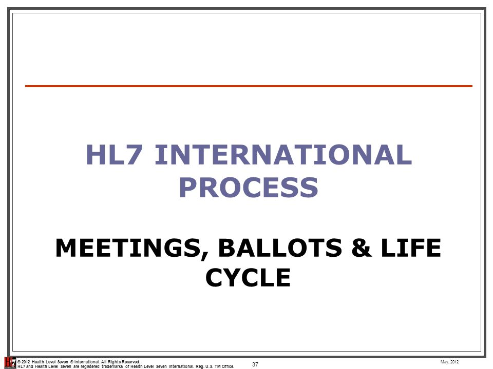 HL7 International Process Meetings, Ballots & Life Cycle