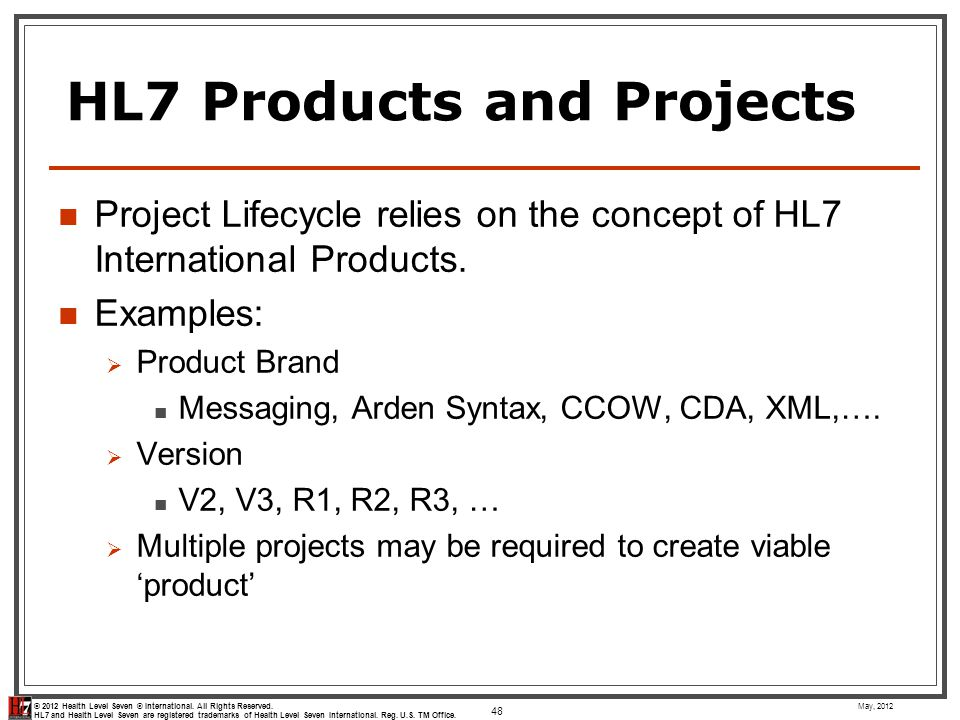 HL7 Products and Projects