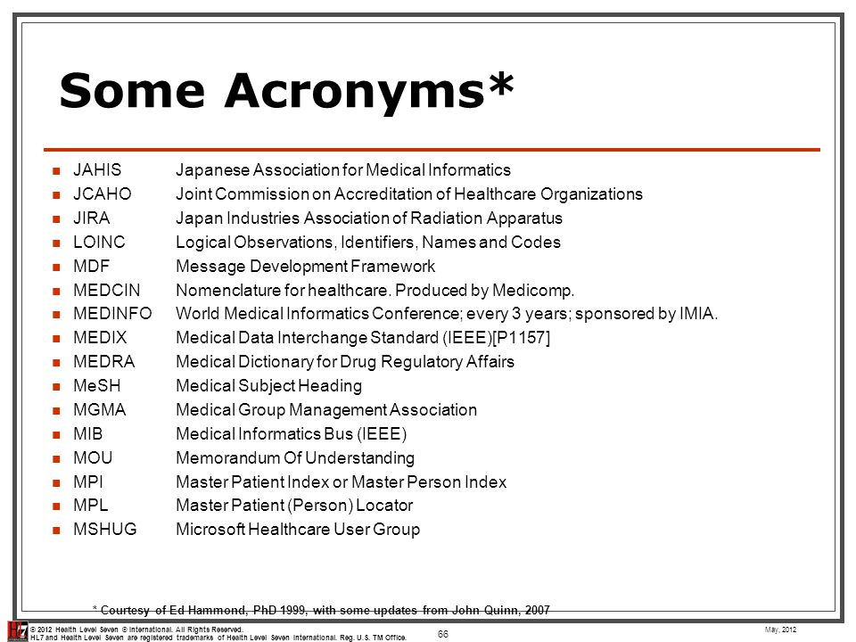 Some Acronyms* JAHIS Japanese Association for Medical Informatics