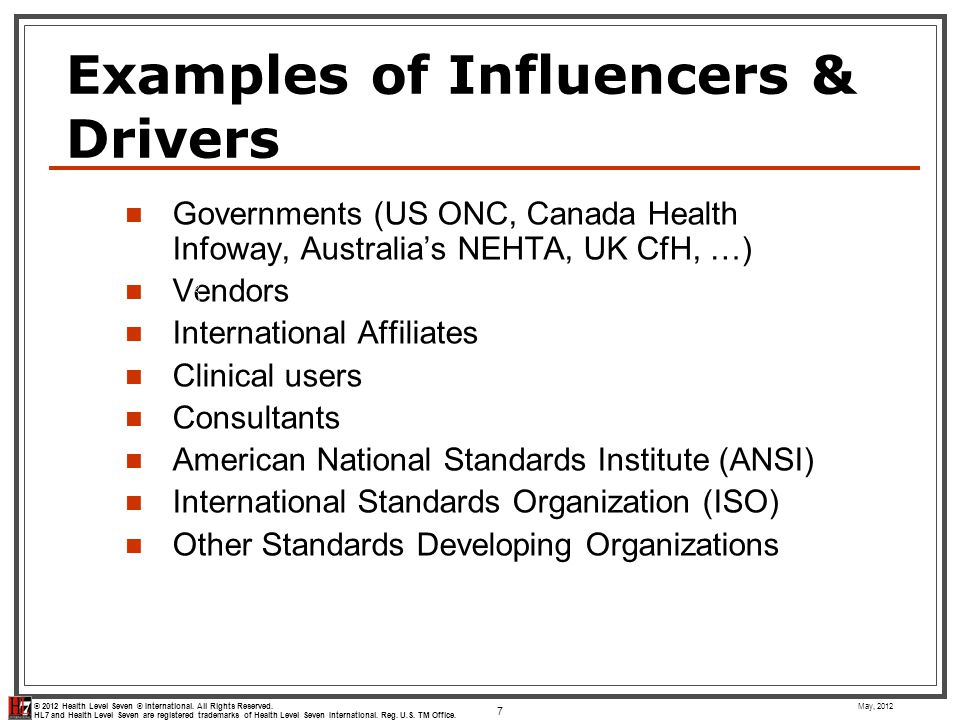 Examples of Influencers & Drivers