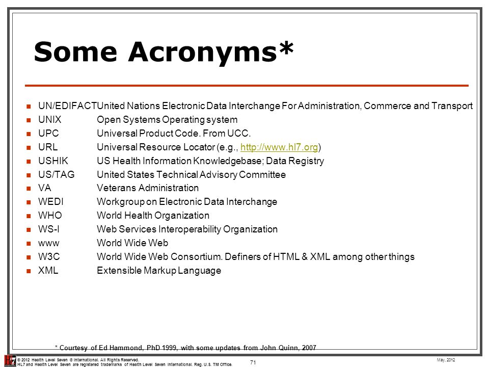 Some Acronyms* UN/EDIFACT United Nations Electronic Data Interchange For Administration, Commerce and Transport.