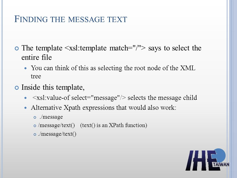 Finding the message text