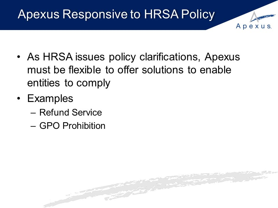 Apexus Responsive to HRSA Policy