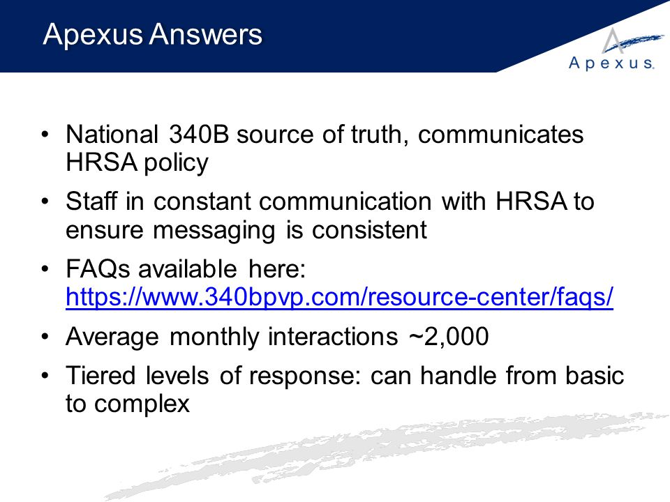Apexus Answers National 340B source of truth, communicates HRSA policy