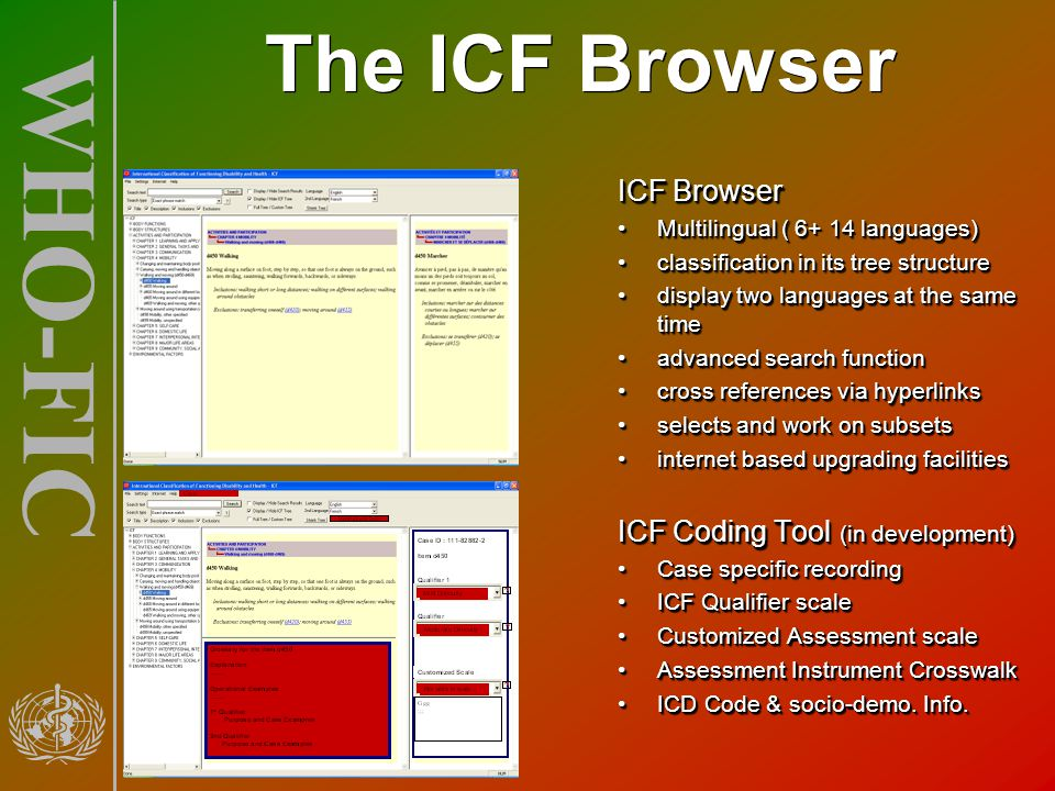 The ICF Browser ICF Browser ICF Coding Tool (in development)