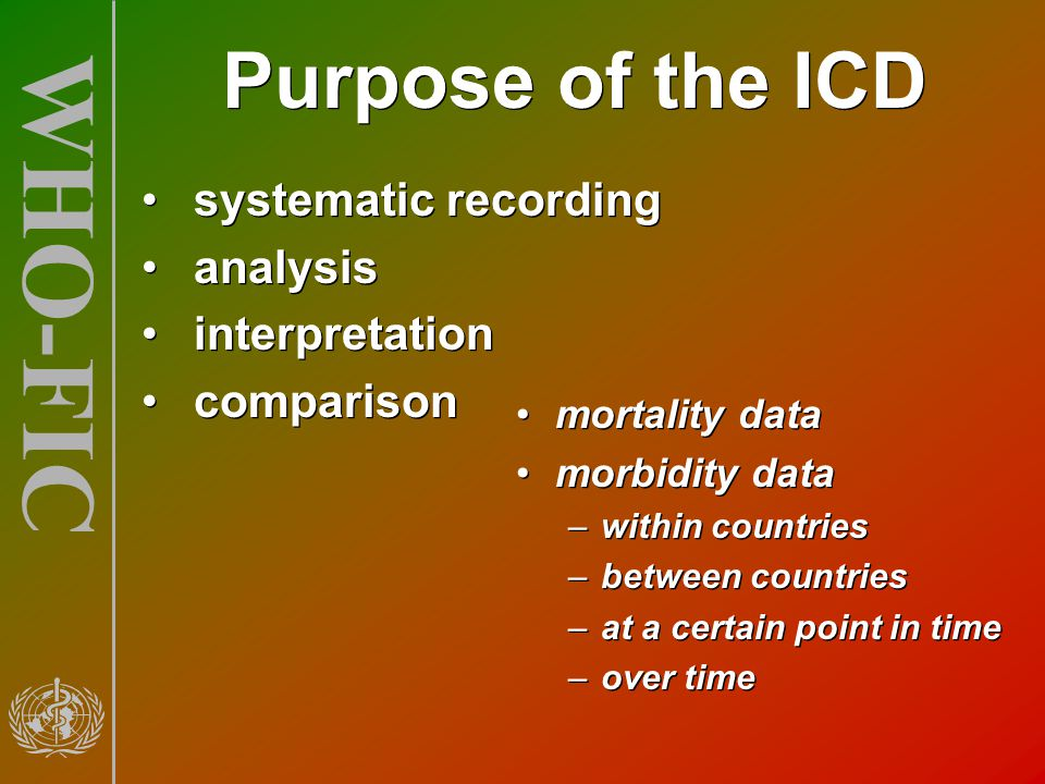 Purpose of the ICD systematic recording analysis interpretation