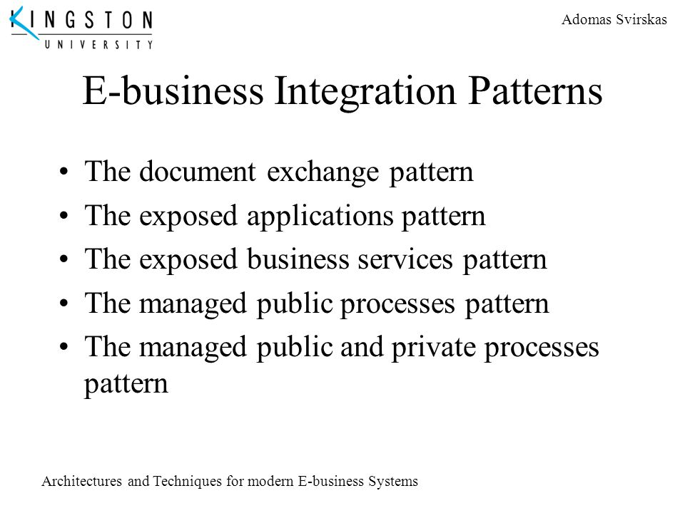 E-business Integration Patterns