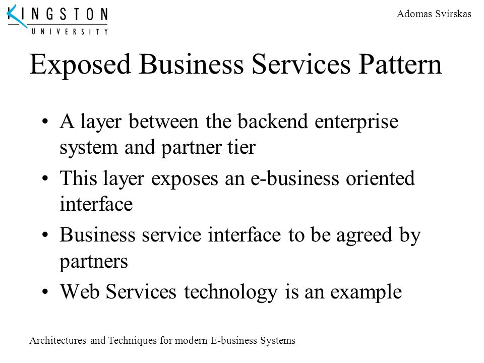 Exposed Business Services Pattern
