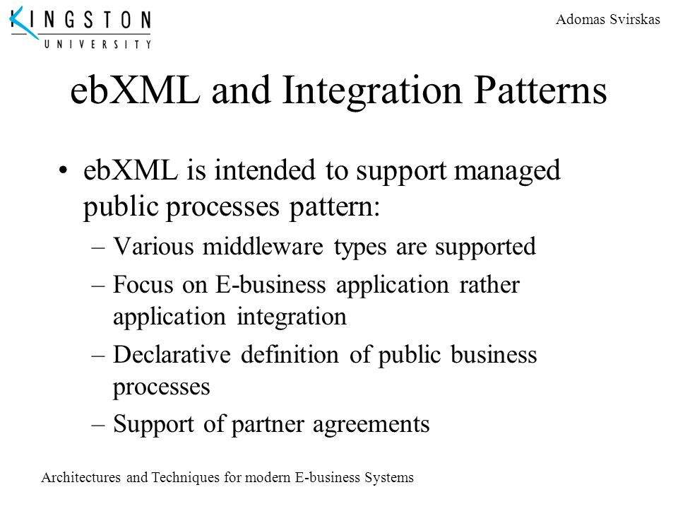 ebXML and Integration Patterns