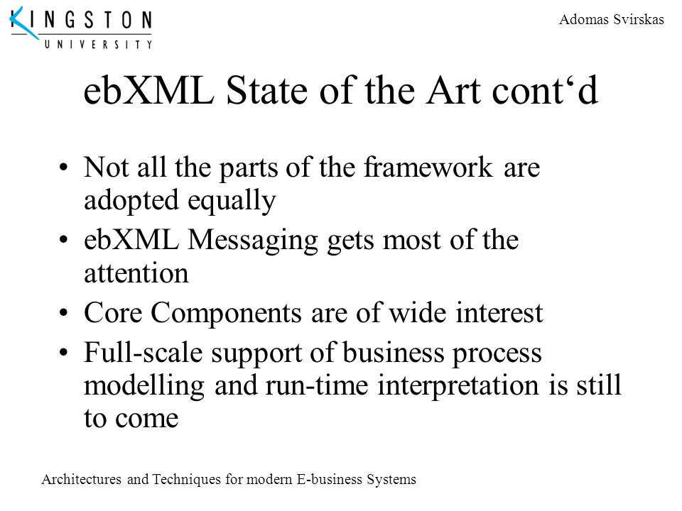 ebXML State of the Art cont'd