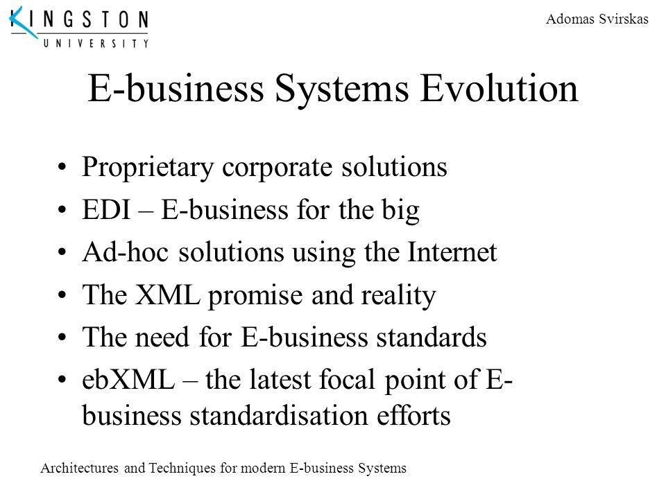 E-business Systems Evolution