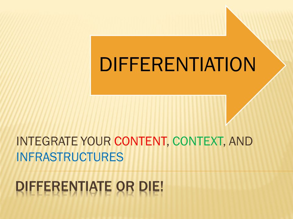 INTEGRATE YOUR CONTENT, CONTEXT, AND INFRASTRUCTURES