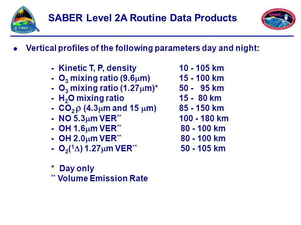 SABER Level 2A Routine Data Products