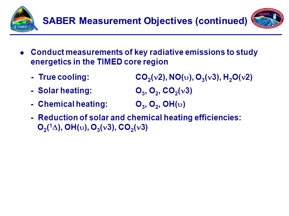 SABER Measurement Objectives (continued)