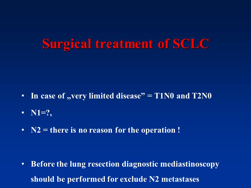Surgical treatment of SCLC