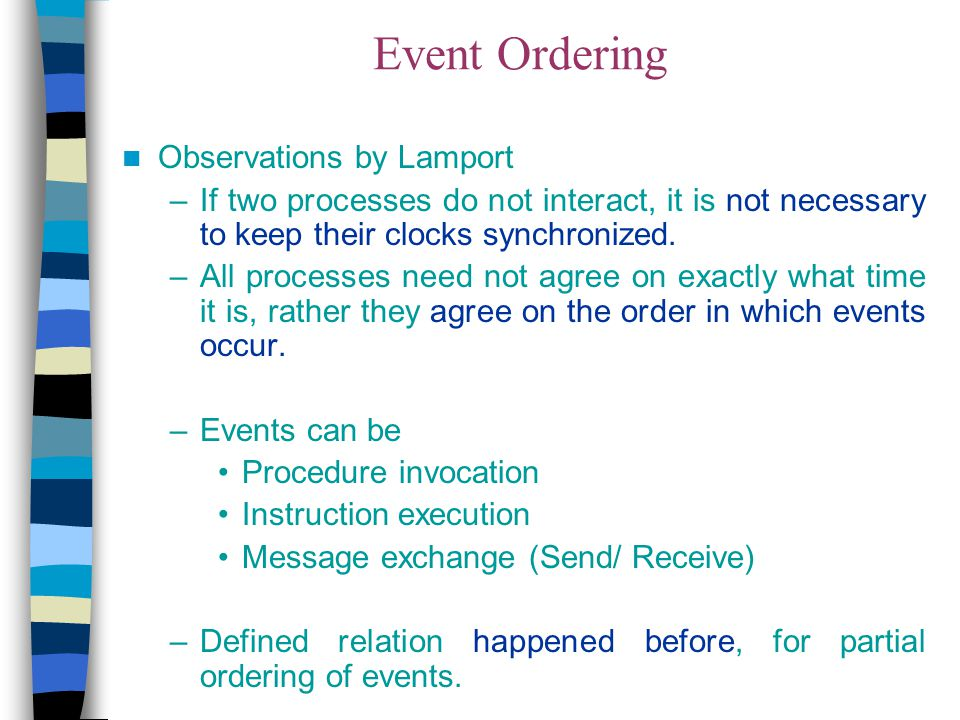 Event Ordering Observations by Lamport