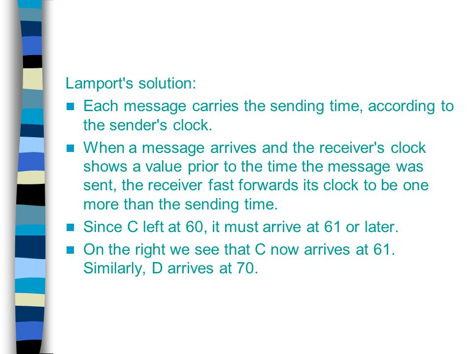 Lamport s solution: Each message carries the sending time, according to the sender s clock.