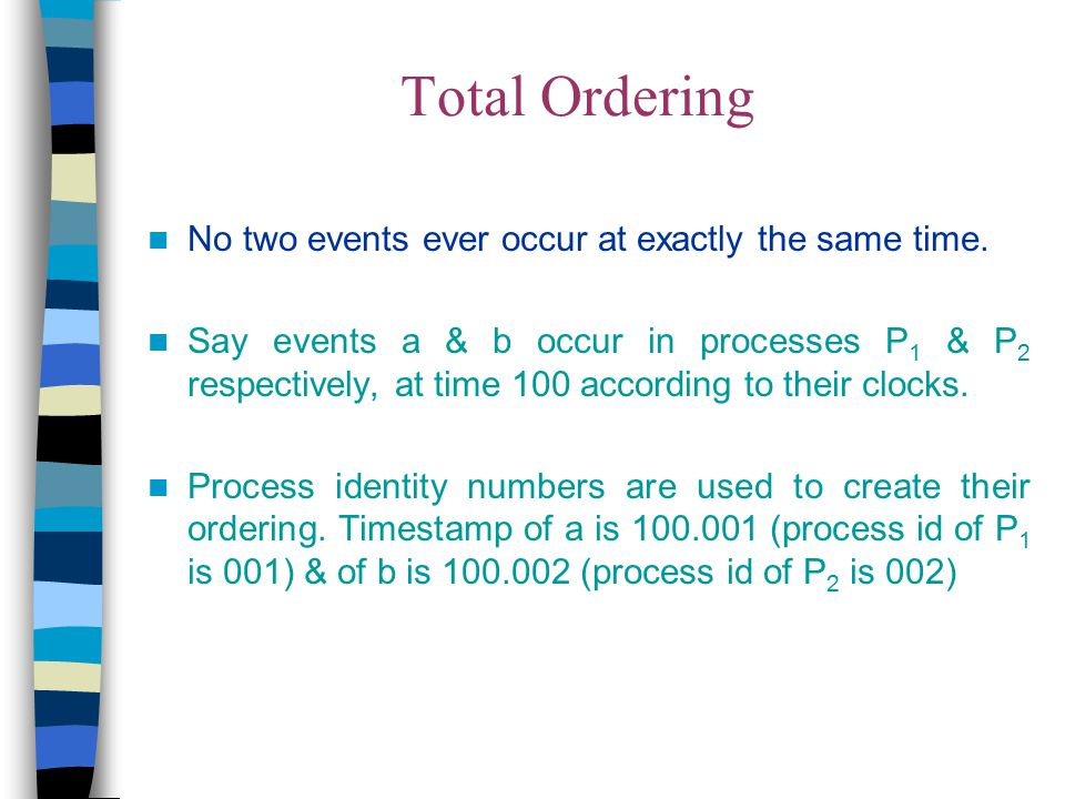 Total Ordering No two events ever occur at exactly the same time.