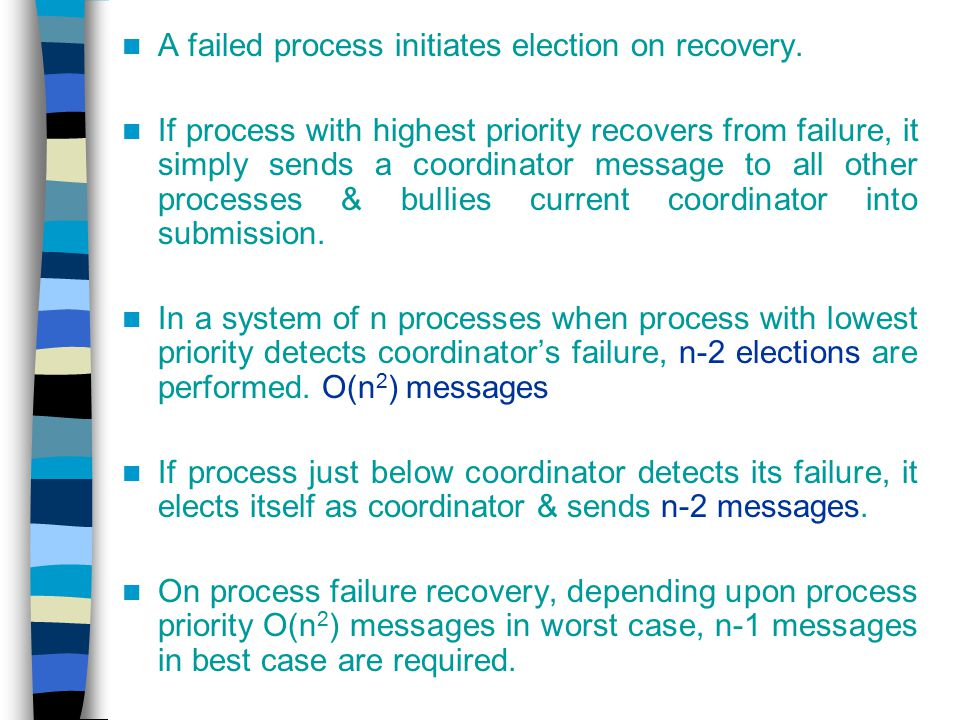 A failed process initiates election on recovery.