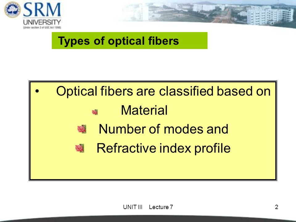 Optical fibers are classified based on Number of modes and