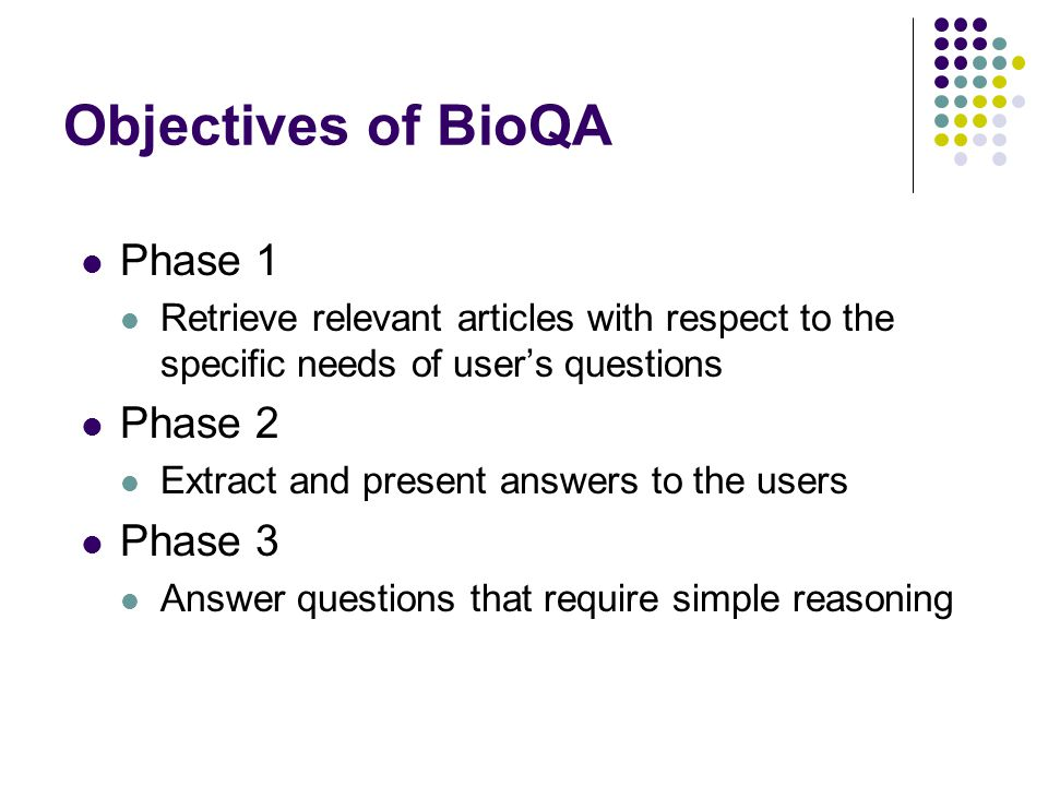 Objectives of BioQA Phase 1 Phase 2 Phase 3